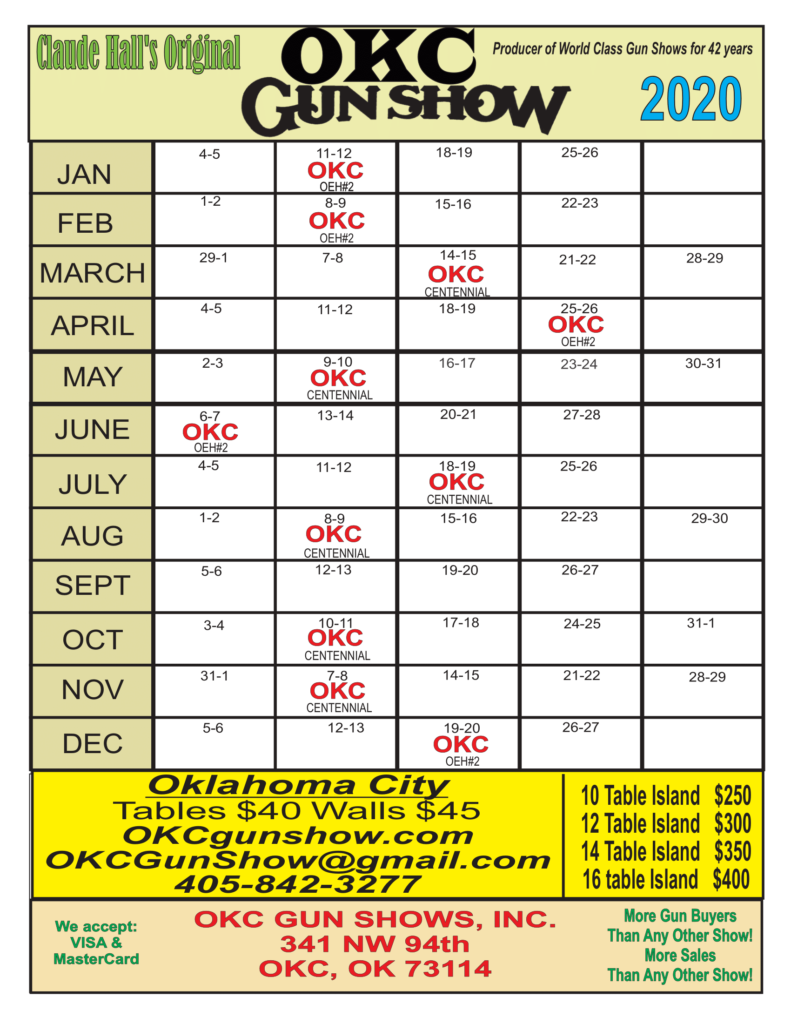 Claude Hall's OKC Gun Show Calendar for 2020